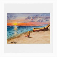 Alone On Sunset Beach Glasses Cloth (Medium, Two Sided)