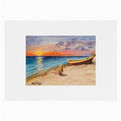 Alone On Sunset Beach Glasses Cloth (Large)