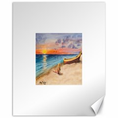 Alone On Sunset Beach Canvas 11  x 14  (Unframed)