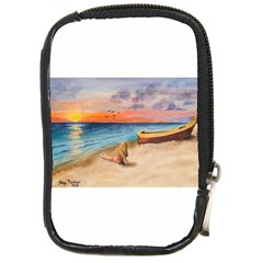 Alone On Sunset Beach Compact Camera Leather Case