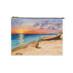 Alone On Sunset Beach Cosmetic Bag (large)