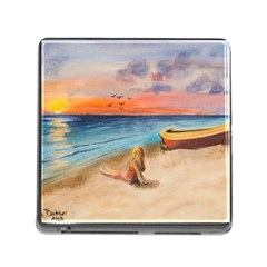 Alone On Sunset Beach Memory Card Reader With Storage (square)