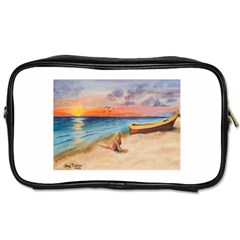Alone On Sunset Beach Travel Toiletry Bag (Two Sides)