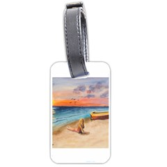 Alone On Sunset Beach Luggage Tag (one Side)