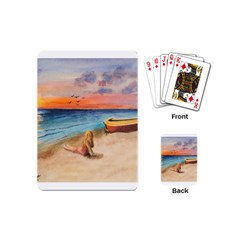 Alone On Sunset Beach Playing Cards (mini)
