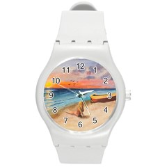 Alone On Sunset Beach Plastic Sport Watch (Medium)