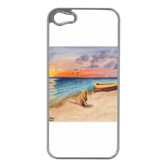 Alone On Sunset Beach Apple Iphone 5 Case (silver)