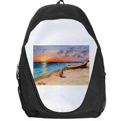 Alone On Sunset Beach Backpack Bag