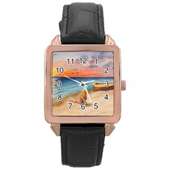 Alone On Sunset Beach Rose Gold Leather Watch