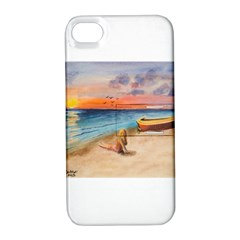 Alone On Sunset Beach Apple iPhone 4/4S Hardshell Case with Stand