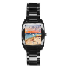 Alone On Sunset Beach Stainless Steel Barrel Watch