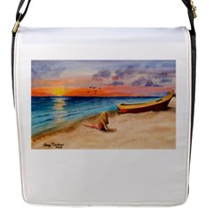 Alone On Sunset Beach Flap Closure Messenger Bag (Small)