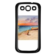 Alone On Sunset Beach Samsung Galaxy S3 Back Case (Black)