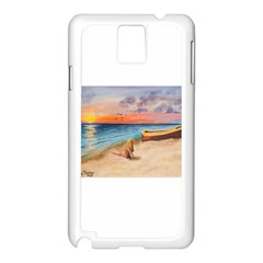 Alone On Sunset Beach Samsung Galaxy Note 3 N9005 Case (White)