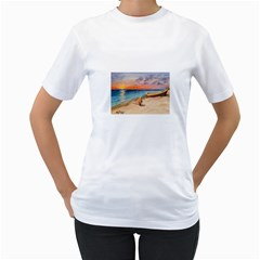 Alone On Sunset Beach Women s T-Shirt (White)