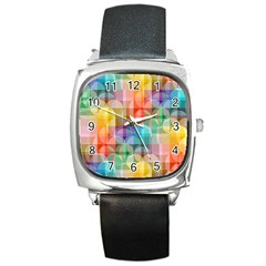 circles Square Leather Watch