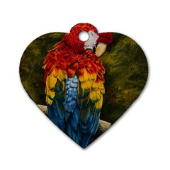 Preening Dog Tag Heart (Two Sided)