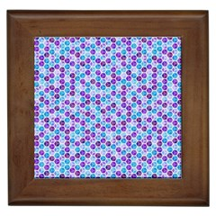 Purple Blue Cubes Framed Ceramic Tile