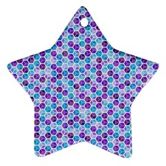 Purple Blue Cubes Star Ornament