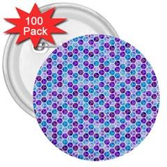 Purple Blue Cubes 3  Button (100 pack)