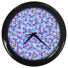 Purple Blue Cubes Wall Clock (Black)
