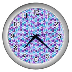 Purple Blue Cubes Wall Clock (Silver)