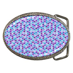 Purple Blue Cubes Belt Buckle (Oval)
