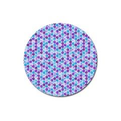 Purple Blue Cubes Magnet 3  (Round)