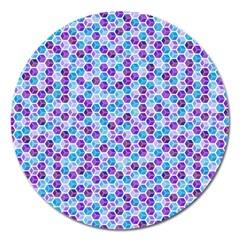 Purple Blue Cubes Magnet 5  (Round)