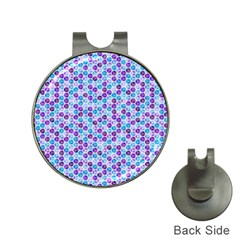 Purple Blue Cubes Hat Clip with Golf Ball Marker