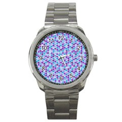 Purple Blue Cubes Sport Metal Watch