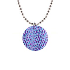 Purple Blue Cubes Button Necklace