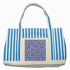 Purple Blue Cubes Blue Striped Tote Bag