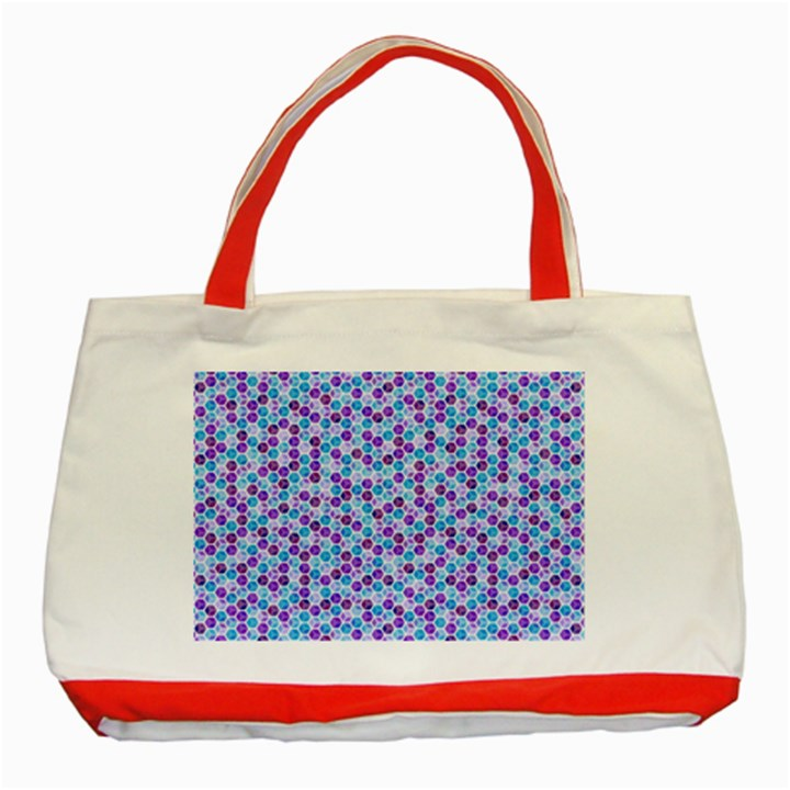 Purple Blue Cubes Classic Tote Bag (Red)