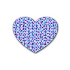 Purple Blue Cubes Drink Coasters 4 Pack (Heart)