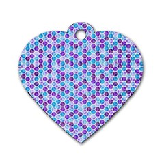 Purple Blue Cubes Dog Tag Heart (Two Sided)