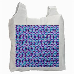 Purple Blue Cubes White Reusable Bag (one Side)