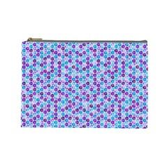 Purple Blue Cubes Cosmetic Bag (Large)