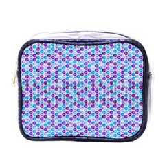 Purple Blue Cubes Mini Travel Toiletry Bag (one Side)