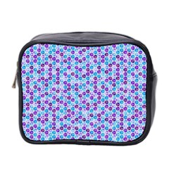 Purple Blue Cubes Mini Travel Toiletry Bag (Two Sides)