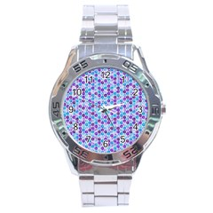 Purple Blue Cubes Stainless Steel Watch