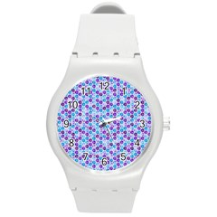 Purple Blue Cubes Plastic Sport Watch (Medium)