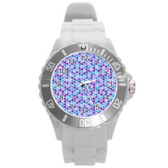 Purple Blue Cubes Plastic Sport Watch (Large)