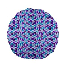 Purple Blue Cubes 15  Premium Round Cushion