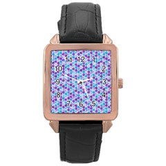 Purple Blue Cubes Rose Gold Leather Watch
