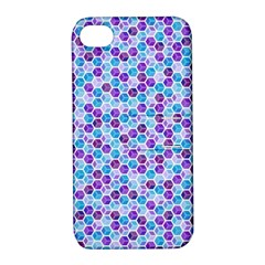 Purple Blue Cubes Apple Iphone 4/4s Hardshell Case With Stand