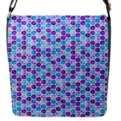 Purple Blue Cubes Flap Closure Messenger Bag (Small)