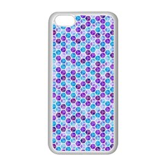 Purple Blue Cubes Apple iPhone 5C Seamless Case (White)