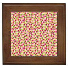 Pink Green Beehive Pattern Framed Ceramic Tile