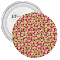 Pink Green Beehive Pattern 3  Button